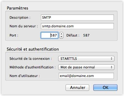 Configuration SMTP d'un compte e-mail