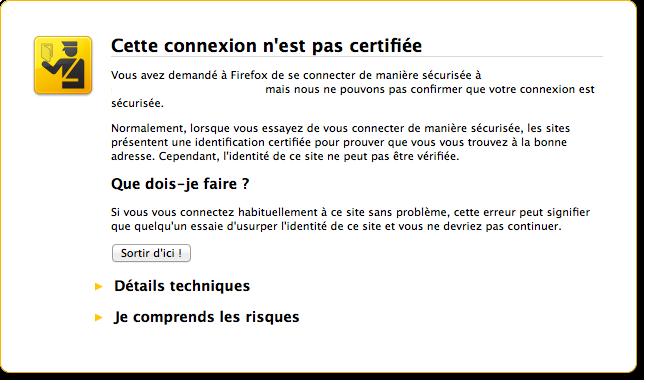 Site avec un certificat non sécurisé