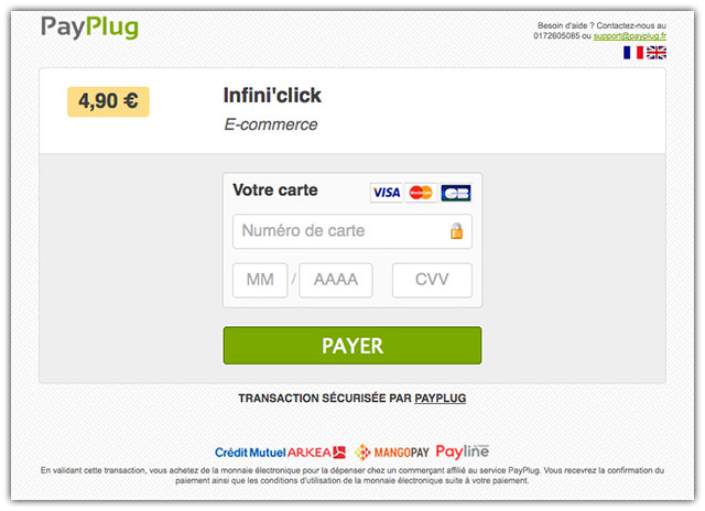 Interface de paiement PayPlug