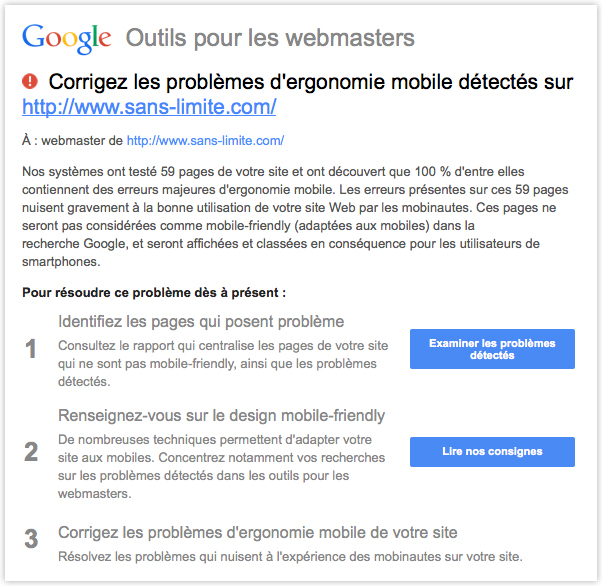 Message de Google pour la version mobile