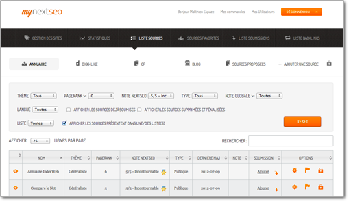 Interface de myNextSeo