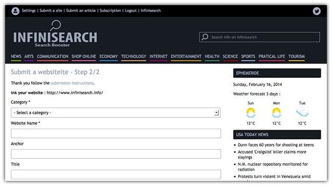 Page de soumission d'un site