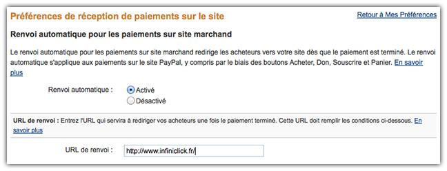 Renvoi automatique sur le site depuis Paypal