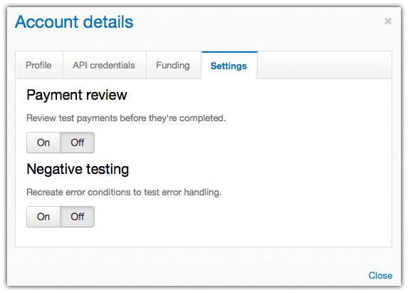 Profile du compte test Paypal