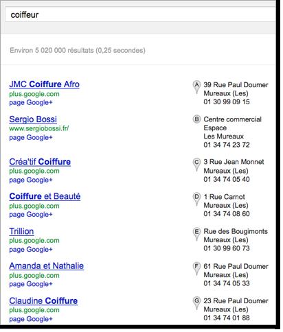 Recherche sur le terme Coiffeur dans Google
