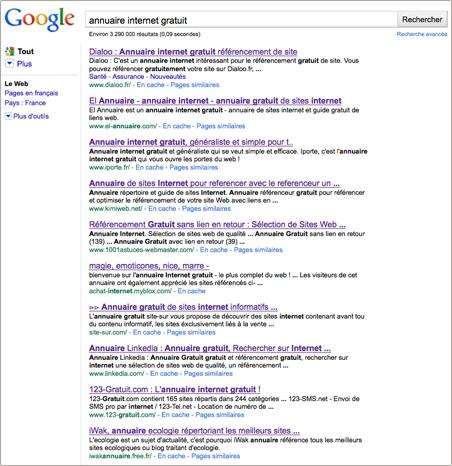 Résultats de la recherche Annuaire internet gratuit
