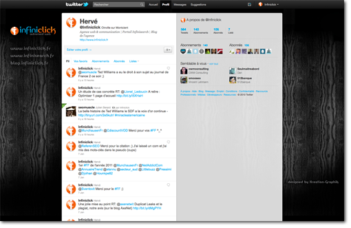 Interface Twitter d'Infini'click
